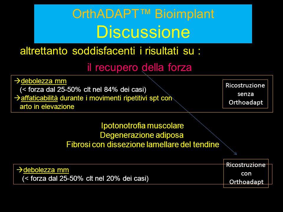 OrthADAPT™ Bioimplant Discussione altrettanto soddisfacenti i risultati su :  debolezza mm (< forza dal 25-50% clt nel 84% dei casi)  affaticabilità