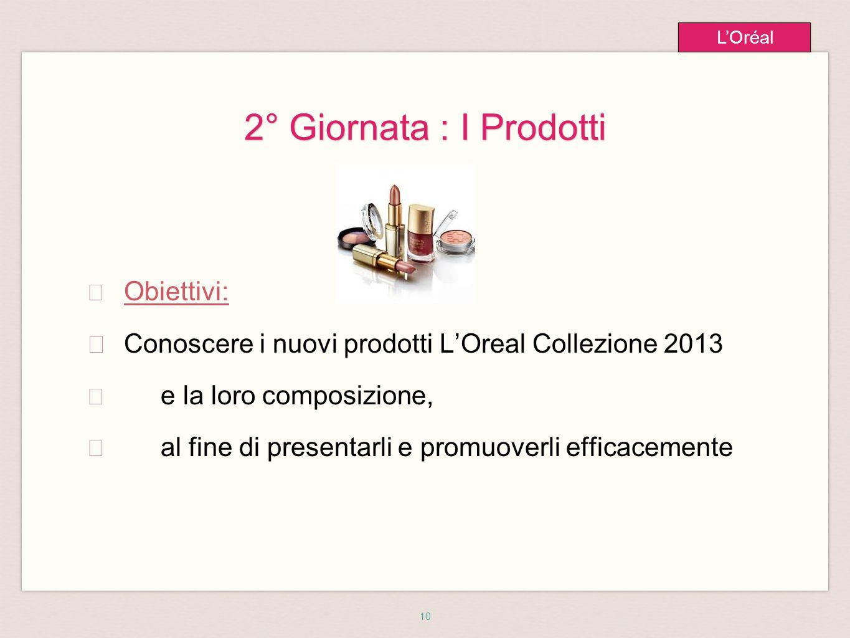 10 L'Oréal 2° Giornata : I Prodotti ★ Obiettivi: ★ Conoscere i nuovi prodotti L'Oreal Collezione 2013 ★ e la loro composizione, ★ al fine di presentarli e promuoverli efficacemente