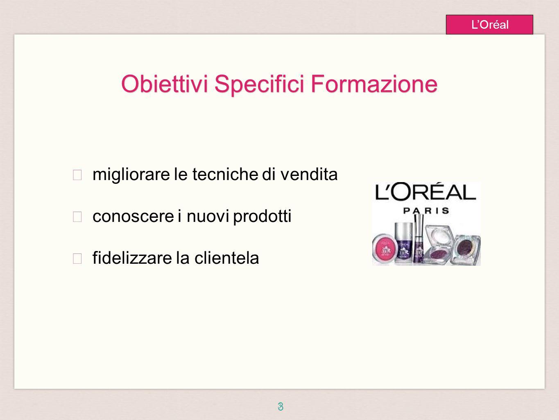 3 L'Oréal Obiettivi Specifici Formazione ★ migliorare le tecniche di vendita ★ conoscere i nuovi prodotti ★ fidelizzare la clientela 3