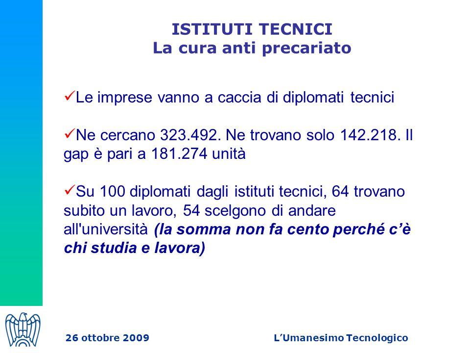 ISTITUTI TECNICI La cura anti precariato Le imprese vanno a caccia di diplomati tecnici Ne cercano 323.492.