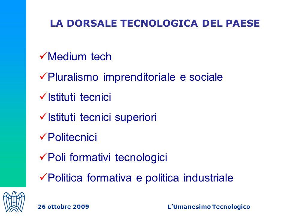 LA DORSALE TECNOLOGICA DEL PAESE Medium tech Pluralismo imprenditoriale e sociale Istituti tecnici Istituti tecnici superiori Politecnici Poli formativi tecnologici Politica formativa e politica industriale 26 ottobre 2009 L'Umanesimo Tecnologico