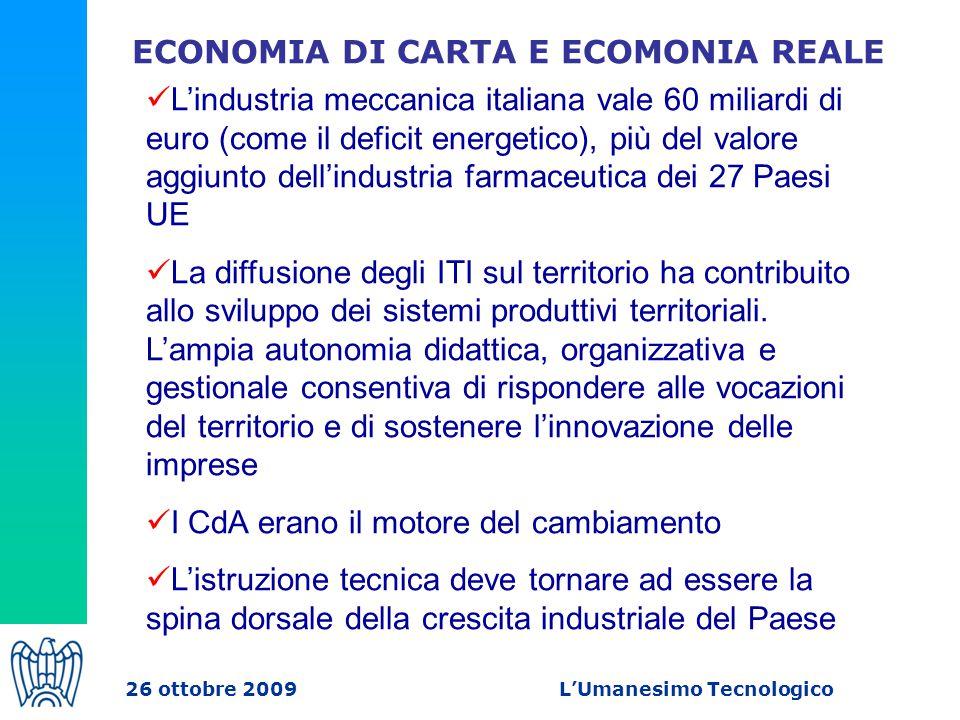 ECONOMIA DI CARTA E ECOMONIA REALE L'industria meccanica italiana vale 60 miliardi di euro (come il deficit energetico), più del valore aggiunto dell'industria farmaceutica dei 27 Paesi UE La diffusione degli ITI sul territorio ha contribuito allo sviluppo dei sistemi produttivi territoriali.