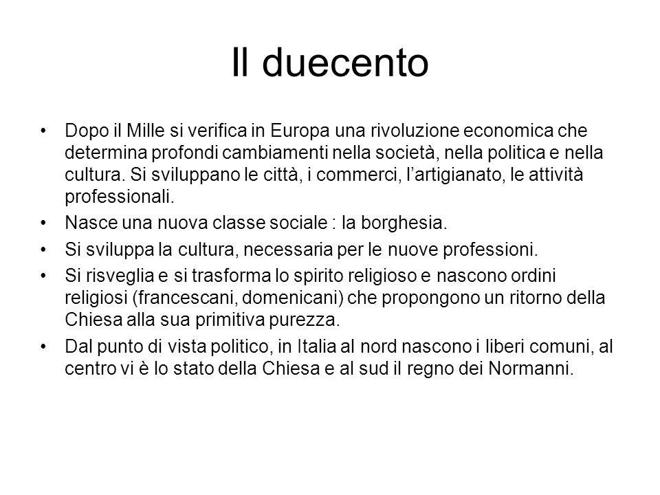 I primi scritti artistici in volgare Nel Duecento nascono le prime scuole letterarie in Italia.