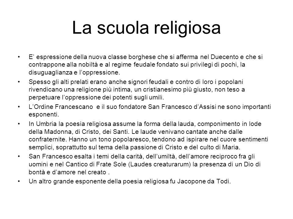 La scuola religiosa E' espressione della nuova classe borghese che si afferma nel Duecento e che si contrappone alla nobiltà e al regime feudale fonda