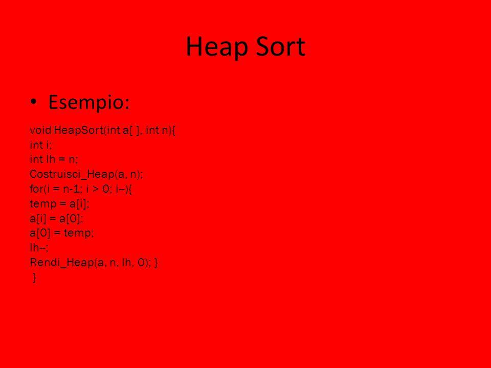 Heap Sort Esempio: void HeapSort(int a[ ], int n){ int i; int lh = n; Costruisci_Heap(a, n); for(i = n-1; i > 0; i--){ temp = a[i]; a[i] = a[0]; a[0] = temp; lh--; Rendi_Heap(a, n, lh, 0); } }