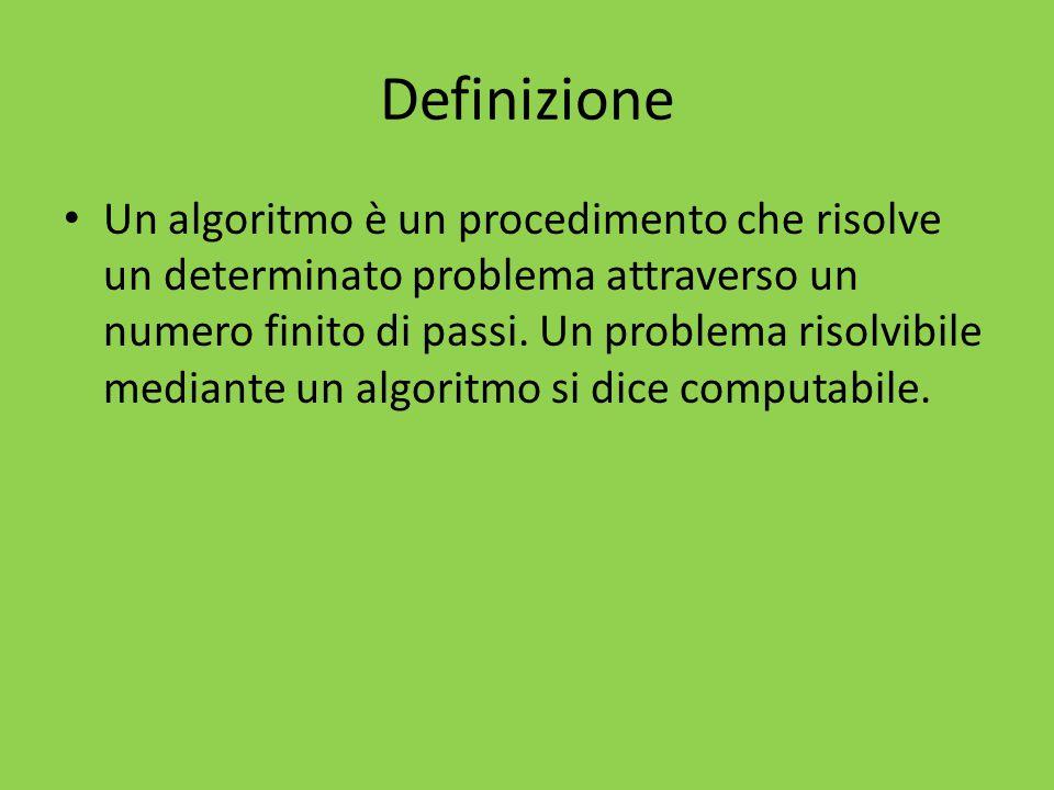 Definizione Un algoritmo è un procedimento che risolve un determinato problema attraverso un numero finito di passi. Un problema risolvibile mediante