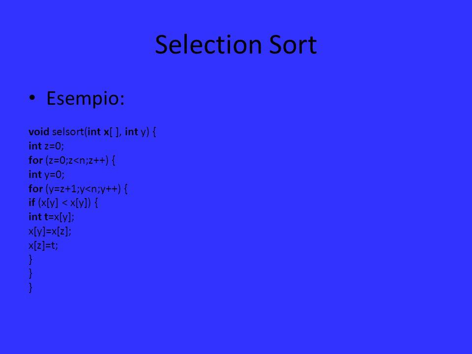 Inserction Sort E' un algoritmo relativamente semplice per ordinare un array.