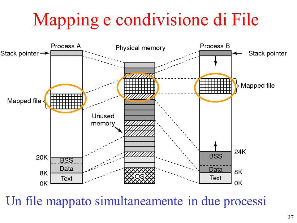 37 Mapping e condivisione di File Two processes can share a mapped file. Un file mappato simultaneamente in due processi