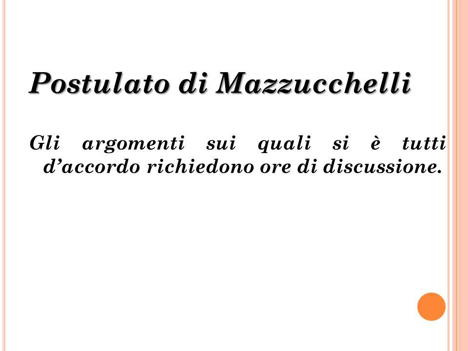 Postulato di Mazzucchelli Gli argomenti sui quali si è tutti d'accordo richiedono ore di discussione.