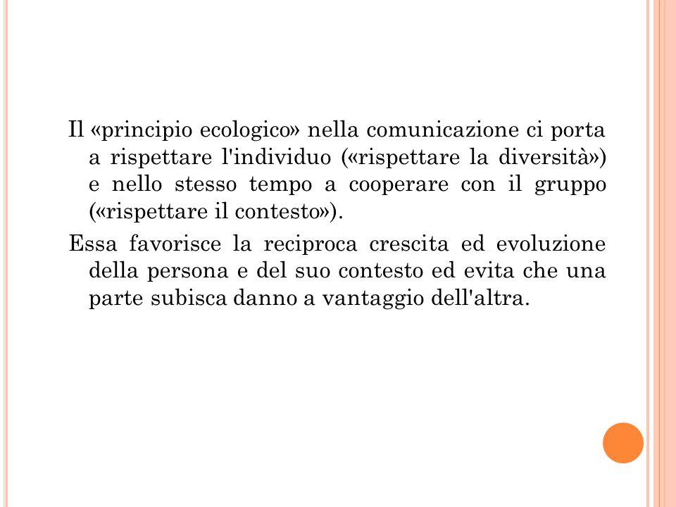 Il «principio ecologico» nella comunicazione ci porta a rispettare l'individuo («rispettare la diversità») e nello stesso tempo a cooperare con il gru