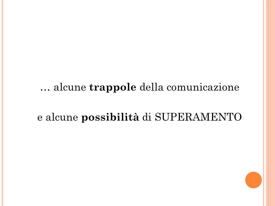 … alcune trappole della comunicazione e alcune possibilità di SUPERAMENTO
