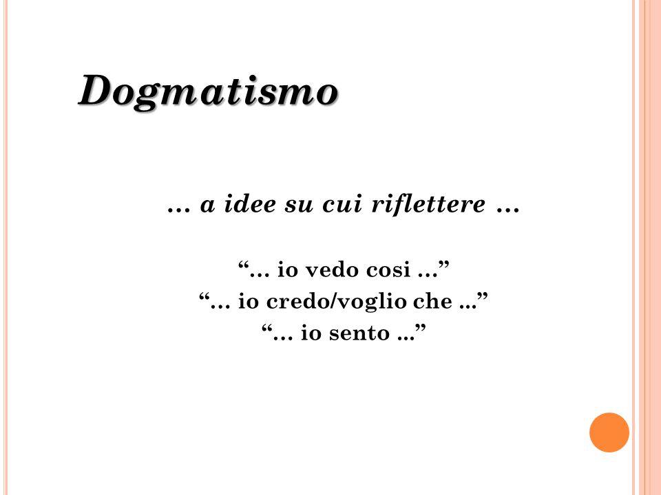 """Dogmatismo … a idee su cui riflettere … """"… io vedo cosi …"""" """"… io credo/voglio che..."""" """"… io sento..."""""""