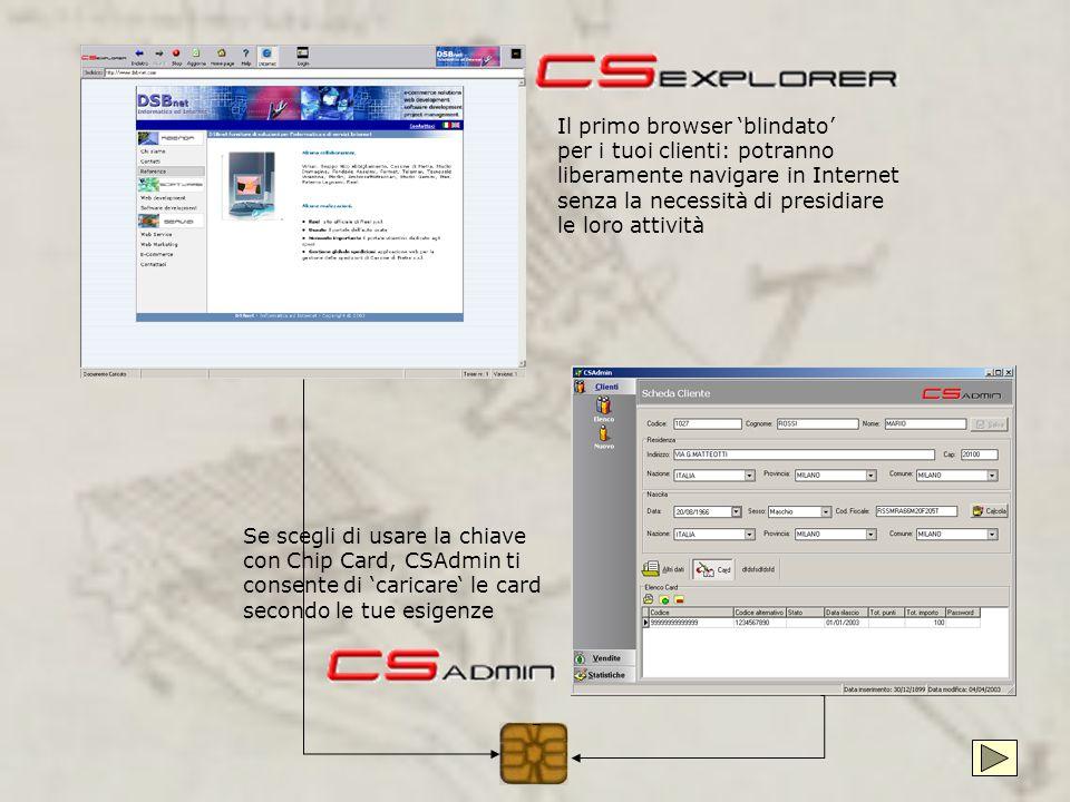 Internet Point È una postazione di accesso ad internet con possibilità di chiave di accesso su chip card CSExplorer rende sicura la navigazione proteg