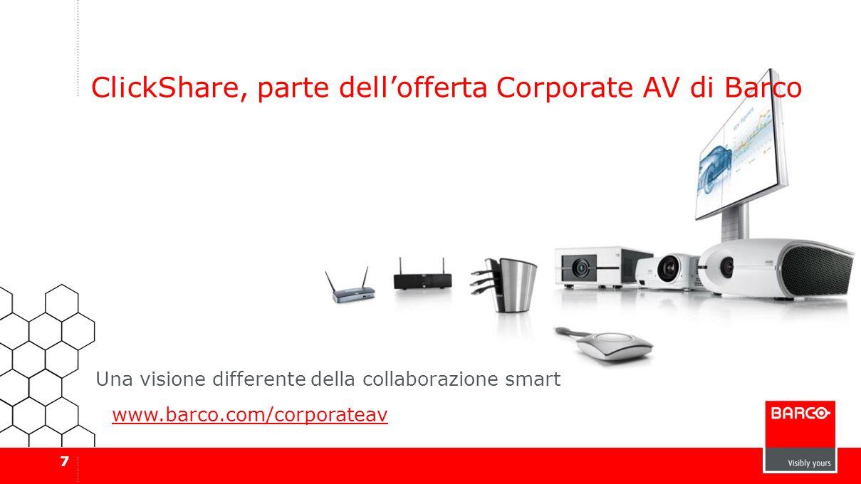 7 ClickShare, parte dell'offerta Corporate AV di Barco www.barco.com/corporateav Una visione differente della collaborazione smart
