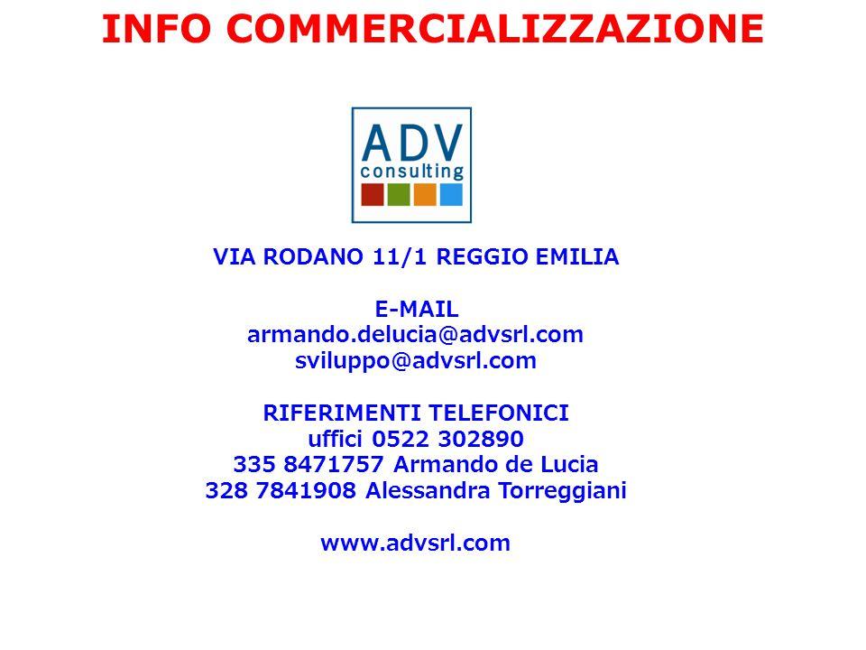 VIA RODANO 11/1 REGGIO EMILIA E-MAIL armando.delucia@advsrl.com sviluppo@advsrl.com RIFERIMENTI TELEFONICI uffici 0522 302890 335 8471757 Armando de Lucia 328 7841908 Alessandra Torreggiani www.advsrl.com INFO COMMERCIALIZZAZIONE