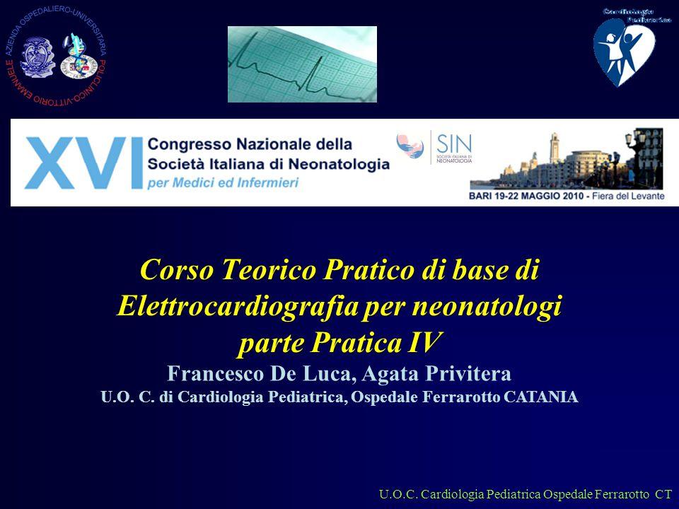 U.O.C.Cardiologia Pediatrica Ospedale Ferrarotto CT Lattante 2 mesi Asse elettrico.