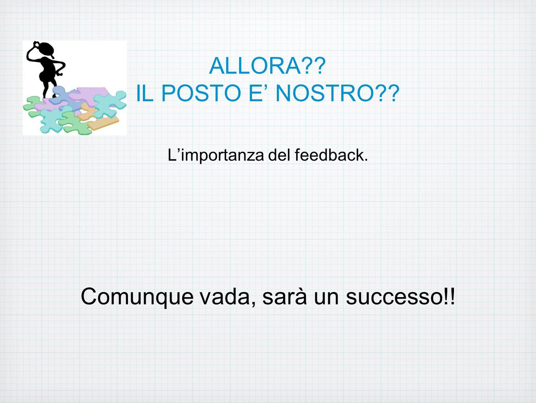 ALLORA?? IL POSTO E' NOSTRO?? L'importanza del feedback. Comunque vada, sarà un successo!!