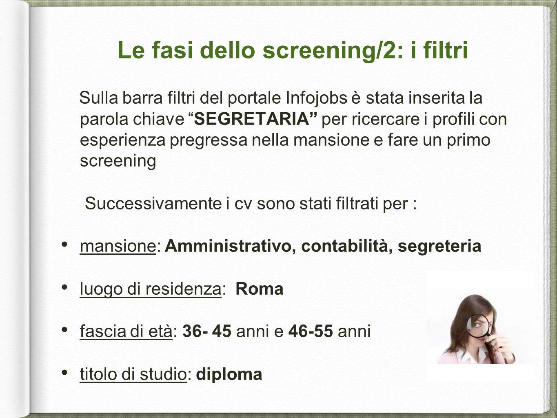 """Le fasi dello screening/2: i filtri Sulla barra filtri del portale Infojobs è stata inserita la parola chiave """"SEGRETARIA"""" per ricercare i profili con"""