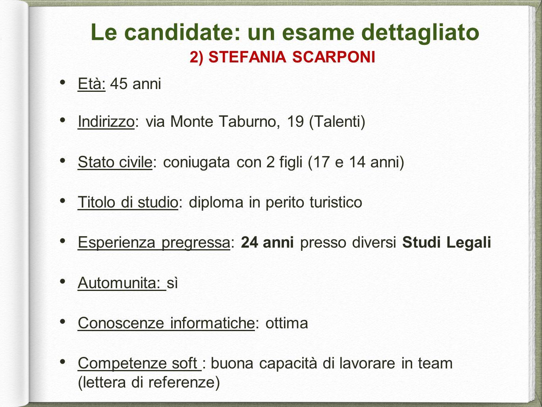 Le candidate: un esame dettagliato 2) STEFANIA SCARPONI Età: 45 anni Indirizzo: via Monte Taburno, 19 (Talenti) Stato civile: coniugata con 2 figli (1