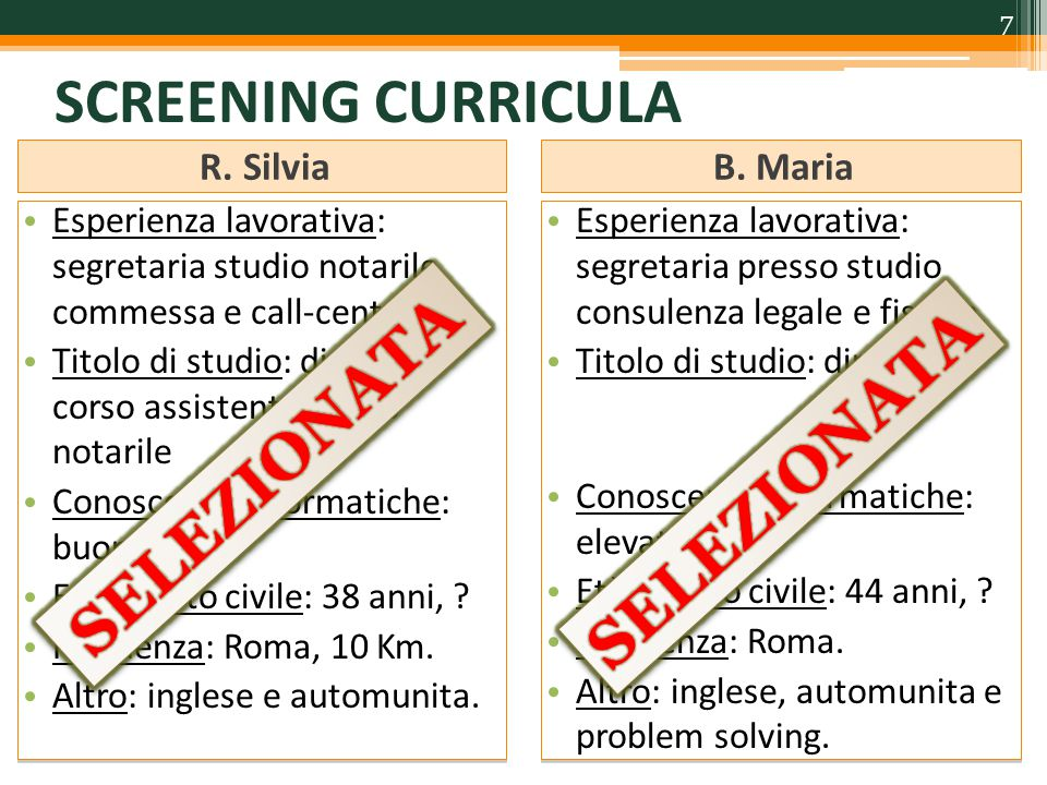 SCREENING CURRICULA R.SilviaB.