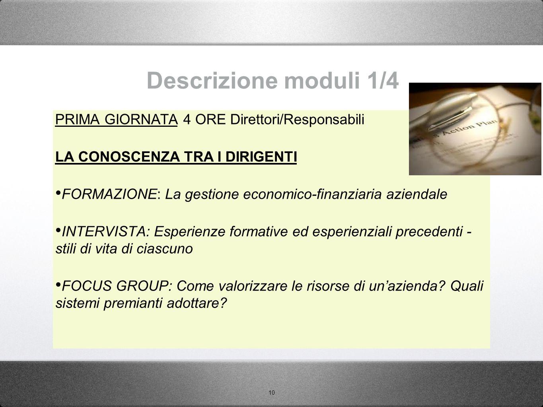 10 Descrizione moduli 1/4 PRIMA GIORNATA 4 ORE Direttori/Responsabili LA CONOSCENZA TRA I DIRIGENTI FORMAZIONE: La gestione economico-finanziaria azie