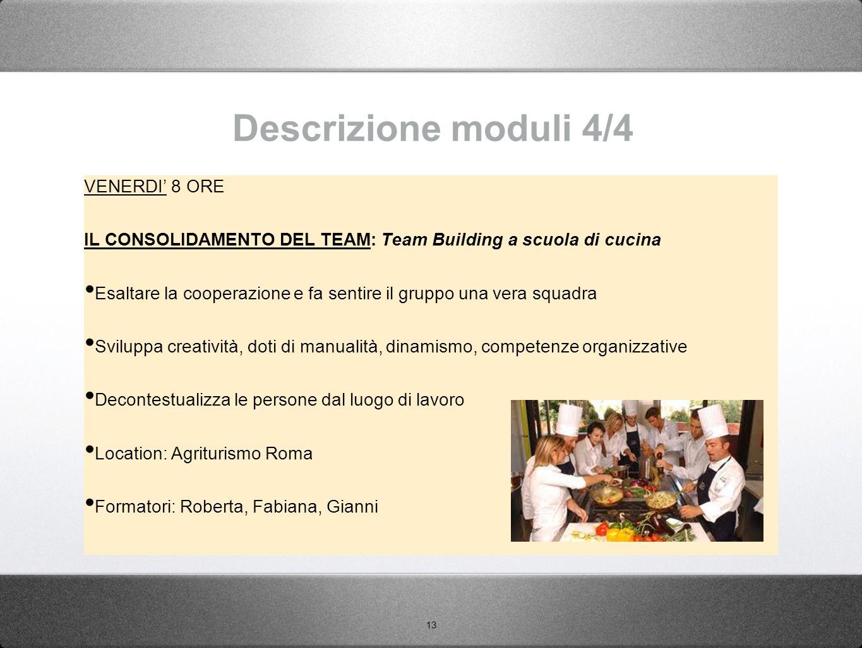13 Descrizione moduli 4/4 VENERDI' 8 ORE IL CONSOLIDAMENTO DEL TEAM: Team Building a scuola di cucina Esaltare la cooperazione e fa sentire il gruppo