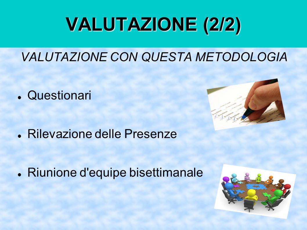 VALUTAZIONE (2/2) VALUTAZIONE CON QUESTA METODOLOGIA Questionari Rilevazione delle Presenze Riunione d equipe bisettimanale
