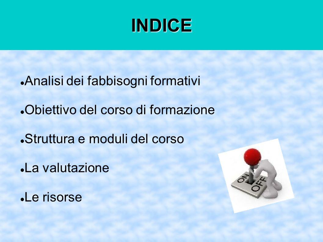 INDICE Analisi dei fabbisogni formativi Obiettivo del corso di formazione Struttura e moduli del corso La valutazione Le risorse