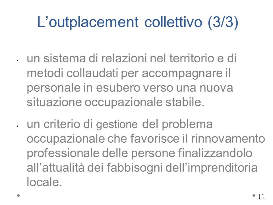 L'outplacement collettivo (3/3) un sistema di relazioni nel territorio e di metodi collaudati per accompagnare il personale in esubero verso una nuova