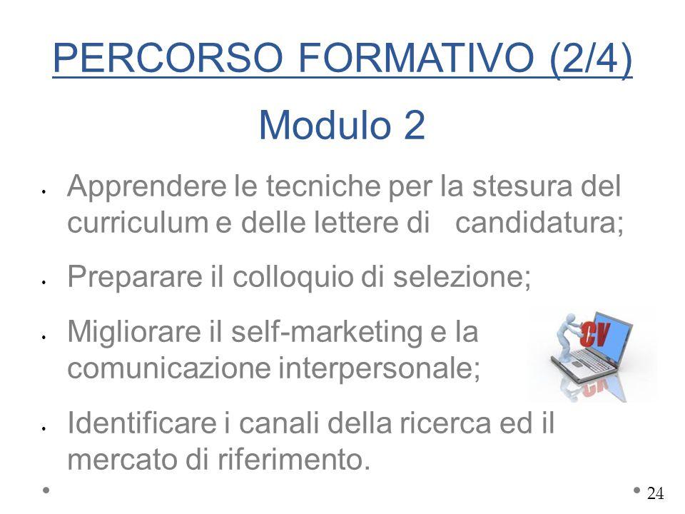 PERCORSO FORMATIVO (2/4) Modulo 2 Apprendere le tecniche per la stesura del curriculum e delle lettere di candidatura; Preparare il colloquio di selez