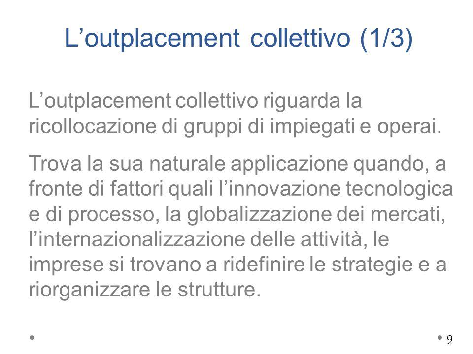 L'outplacement collettivo (1/3) L'outplacement collettivo riguarda la ricollocazione di gruppi di impiegati e operai. Trova la sua naturale applicazio