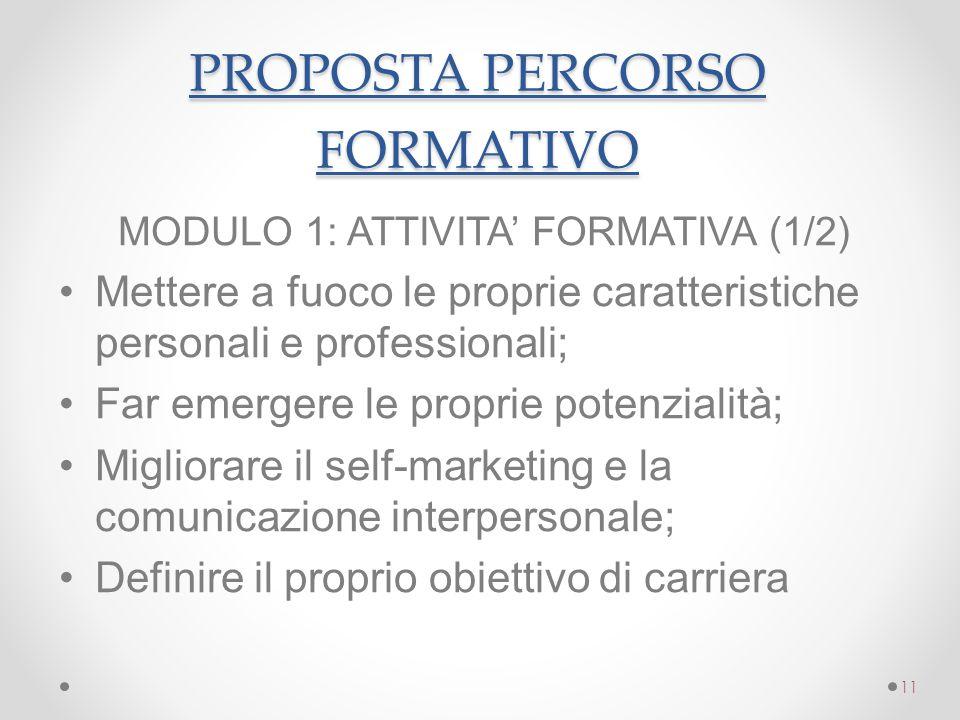 PROPOSTA PERCORSO FORMATIVO PROPOSTA PERCORSO FORMATIVO MODULO 1: ATTIVITA' FORMATIVA (1/2) Mettere a fuoco le proprie caratteristiche personali e pro