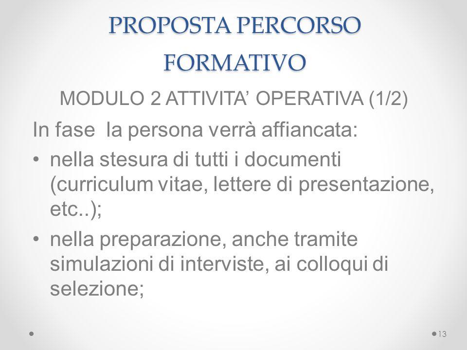 ù PROPOSTA PERCORSO FORMATIVO MODULO 2 ATTIVITA' OPERATIVA (1/2) In fase la persona verrà affiancata: nella stesura di tutti i documenti (curriculum v