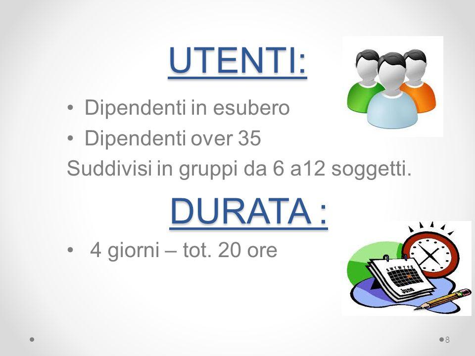 UTENTI: Dipendenti in esubero Dipendenti over 35 Suddivisi in gruppi da 6 a12 soggetti.