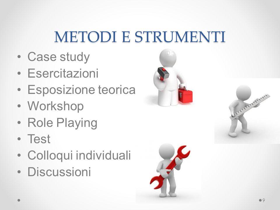 METODI E STRUMENTI Case study Esercitazioni Esposizione teorica Workshop Role Playing Test Colloqui individuali Discussioni 9