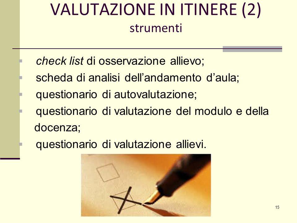 VALUTAZIONE IN ITINERE (2) strumenti  check list di osservazione allievo;  scheda di analisi dell'andamento d'aula;  questionario di autovalutazione;  questionario di valutazione del modulo e della docenza;  questionario di valutazione allievi.