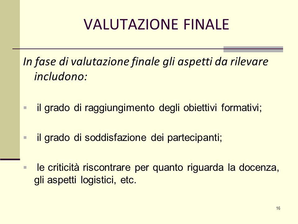 VALUTAZIONE FINALE In fase di valutazione finale gli aspetti da rilevare includono:  il grado di raggiungimento degli obiettivi formativi;  il grado