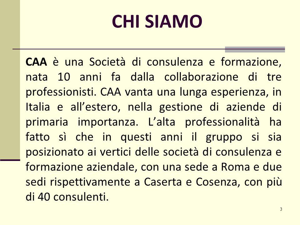 3 CHI SIAMO CAA è una Società di consulenza e formazione, nata 10 anni fa dalla collaborazione di tre professionisti.
