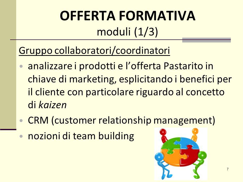 7 OFFERTA FORMATIVA moduli (1/3) Gruppo collaboratori/coordinatori analizzare i prodotti e l'offerta Pastarito in chiave di marketing, esplicitando i benefici per il cliente con particolare riguardo al concetto di kaizen CRM (customer relationship management) nozioni di team building
