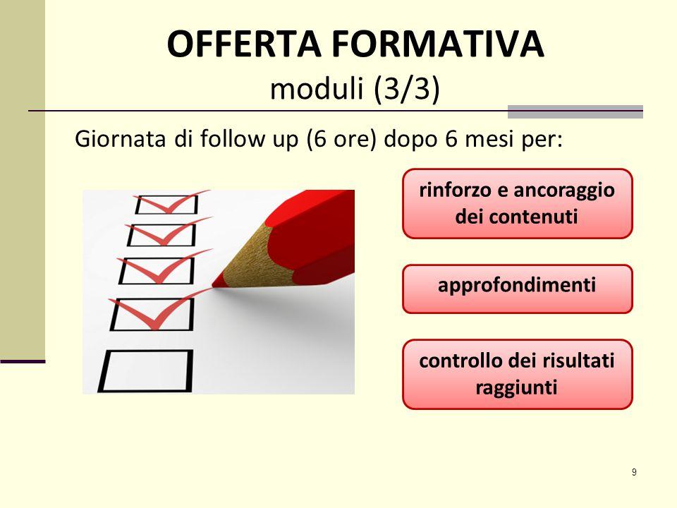 9 OFFERTA FORMATIVA moduli (3/3) Giornata di follow up (6 ore) dopo 6 mesi per: approfondimenti rinforzo e ancoraggio dei contenuti controllo dei risultati raggiunti