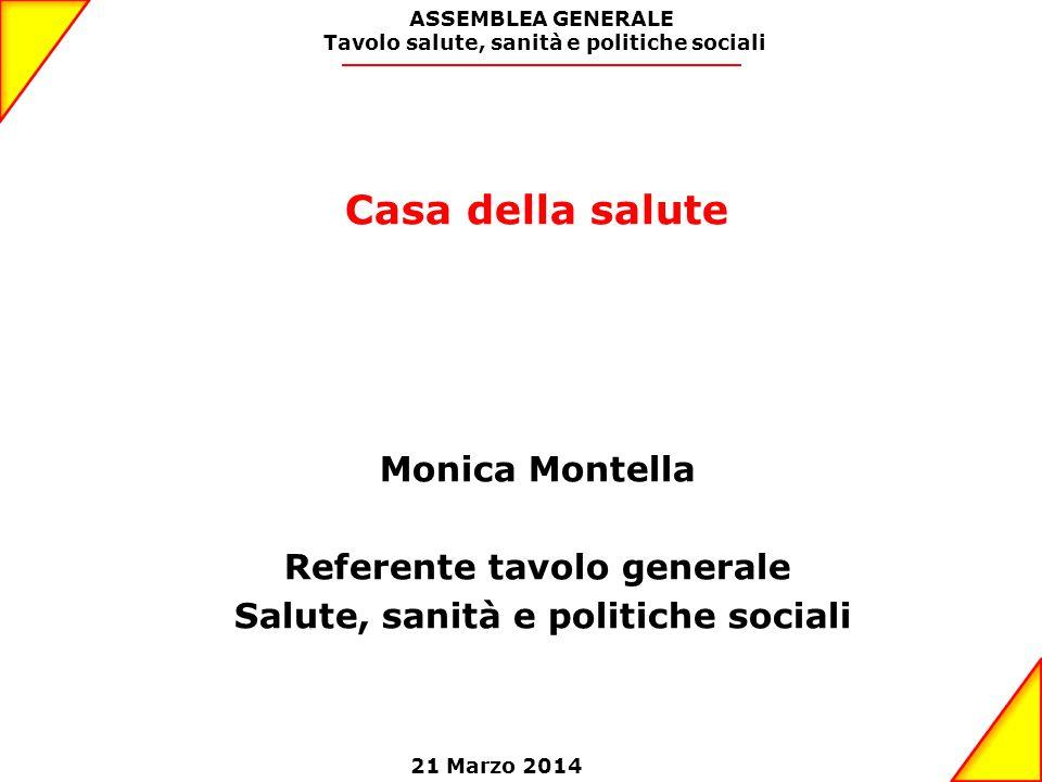 Casa della salute Monica Montella Referente tavolo generale Salute, sanità e politiche sociali ASSEMBLEA GENERALE Tavolo salute, sanità e politiche sociali 21 Marzo 2014