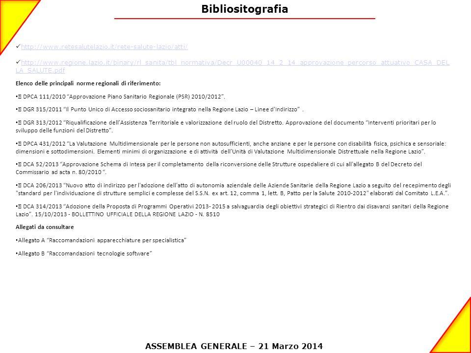 Bibliositografia http://www.retesalutelazio.it/rete-salute-lazio/atti/ http://www.regione.lazio.it/binary/rl_sanita/tbl_normativa/Decr_U00040_14_2_14_approvazione_percorso_attuativo_CASA_DEL LA_SALUTE.pdf http://www.regione.lazio.it/binary/rl_sanita/tbl_normativa/Decr_U00040_14_2_14_approvazione_percorso_attuativo_CASA_DEL LA_SALUTE.pdf Elenco delle principali norme regionali di riferimento: • DPCA 111/2010 Approvazione Piano Sanitario Regionale (PSR) 2010/2012 .