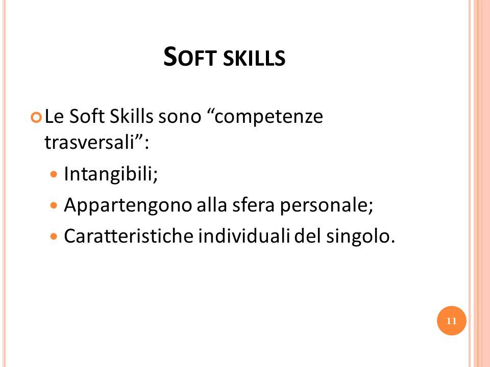 """S OFT SKILLS Le Soft Skills sono """"competenze trasversali"""": Intangibili; Appartengono alla sfera personale; Caratteristiche individuali del singolo. 11"""
