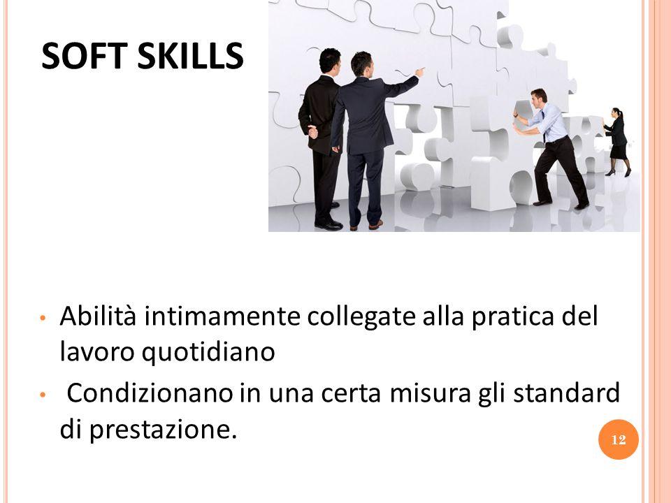 SOFT SKILLS Abilità intimamente collegate alla pratica del lavoro quotidiano Condizionano in una certa misura gli standard di prestazione. 12