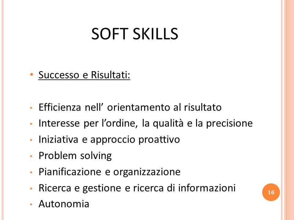 SOFT SKILLS Successo e Risultati: Efficienza nell' orientamento al risultato Interesse per l'ordine, la qualità e la precisione Iniziativa e approccio