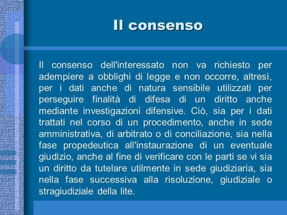 Il consenso Il consenso dell interessato non va richiesto per adempiere a obblighi di legge e non occorre, altresì, per i dati anche di natura sensibile utilizzati per perseguire finalità di difesa di un diritto anche mediante investigazioni difensive.