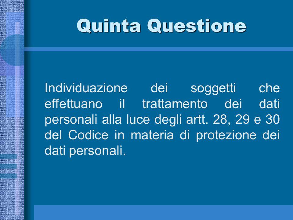 Quinta Questione Individuazione dei soggetti che effettuano il trattamento dei dati personali alla luce degli artt.