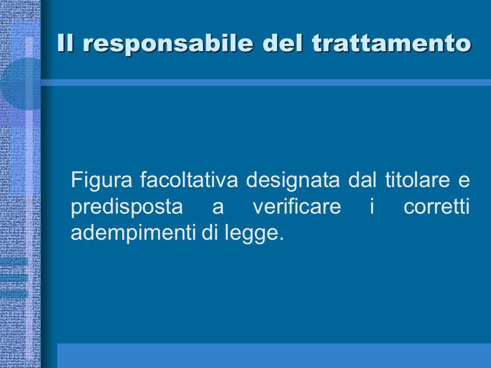 Il responsabile del trattamento Figura facoltativa designata dal titolare e predisposta a verificare i corretti adempimenti di legge.