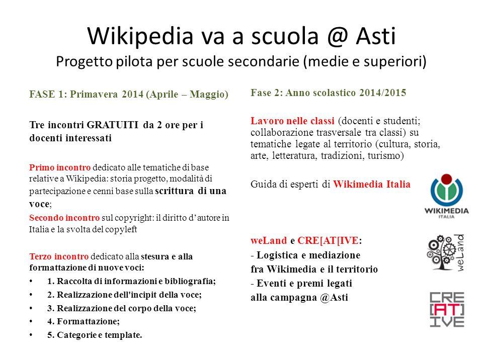 Come partecipare Modulo di iscrizione per i docenti (CORSO PRIMAVERA 2014) 1) Scaricabile da http://www.we- land.com/wikipedia-va-a-scuola/http://www.we- land.com/wikipedia-va-a-scuola/ 2) Da compilare e spedire a info@we- land.com o c.donatella@creativeasti.com ENTRO il 31 MARZO 2014info@we- land.comc.donatella@creativeasti.com 3) QUALI DATI.