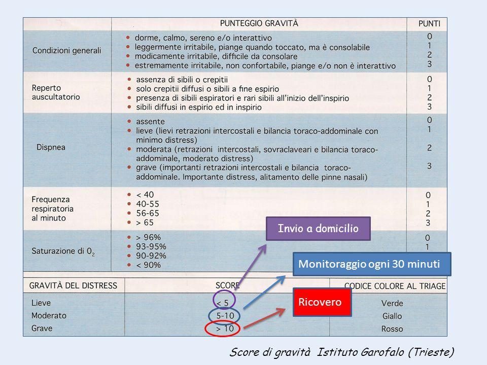 Score di gravità Istituto Garofalo (Trieste) Invio a domicilio Monitoraggio ogni 30 minuti Ricovero